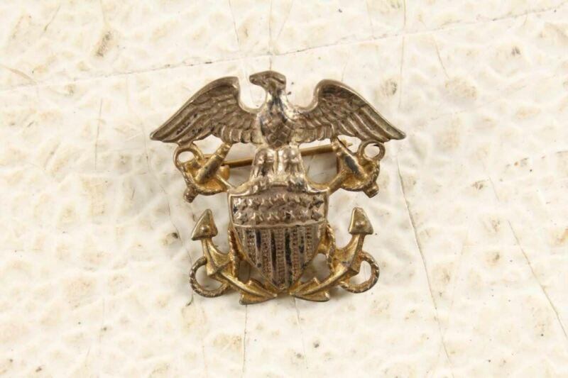 Vintage US Navy Officer Insignia Hat Badge Marked Sterling