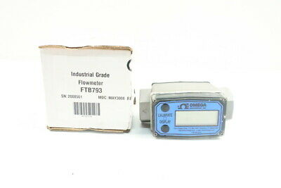 Omega Ftb793 Turbine Flow Meter With Digital Display 1in 5-50gpm