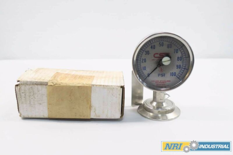 Chicago Stainless 3S-D-2-1/2U-GF-BT-SS 0-100psi Pressure Gauge