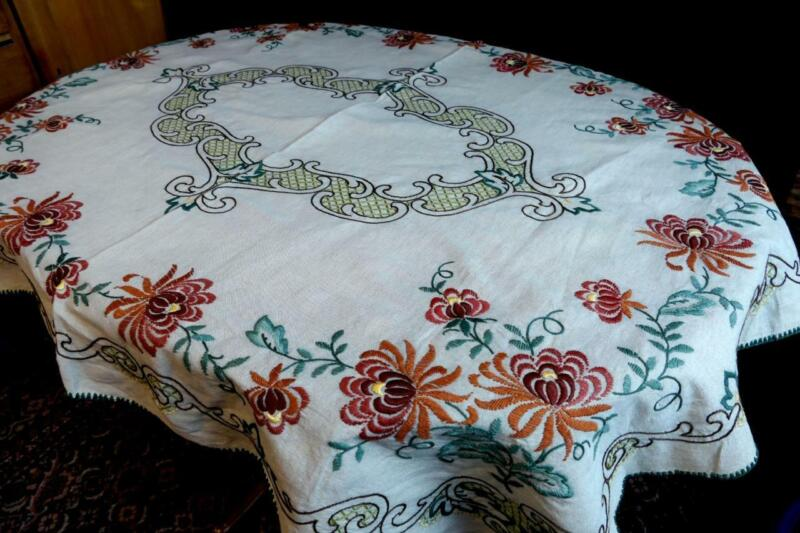 COLLECTORS ANTIQUE NATURAL LINEN TABLECLOTH ORNAMENTAL FLOWER EMBROIDERY