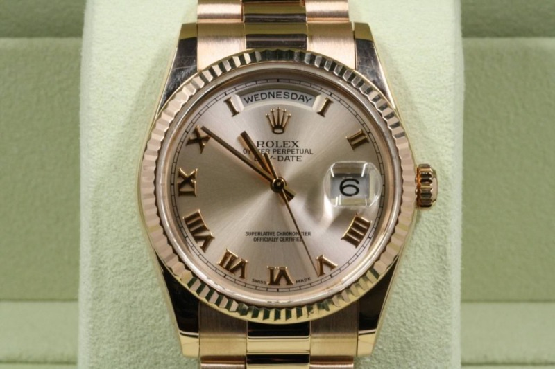 Rolex Day-date 118235 Pink Roman Dial With Box & Papers