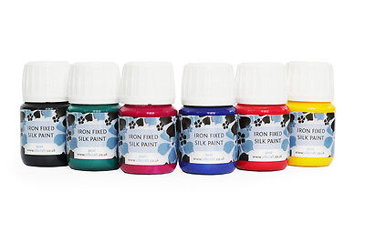 Set of 6 iron fixed silk paints x 30ml bottles - HIGH QUALITY