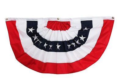HEAVY DUTY 2 SIDED EMBROIDERED 4'X2' PATRIOTIC AMERICAN FLAG BUNTING  JULY 4TH