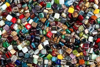 100 x CzechMates 6mm Two Hole Tiles Czech Glass Beads - Assorted Mix