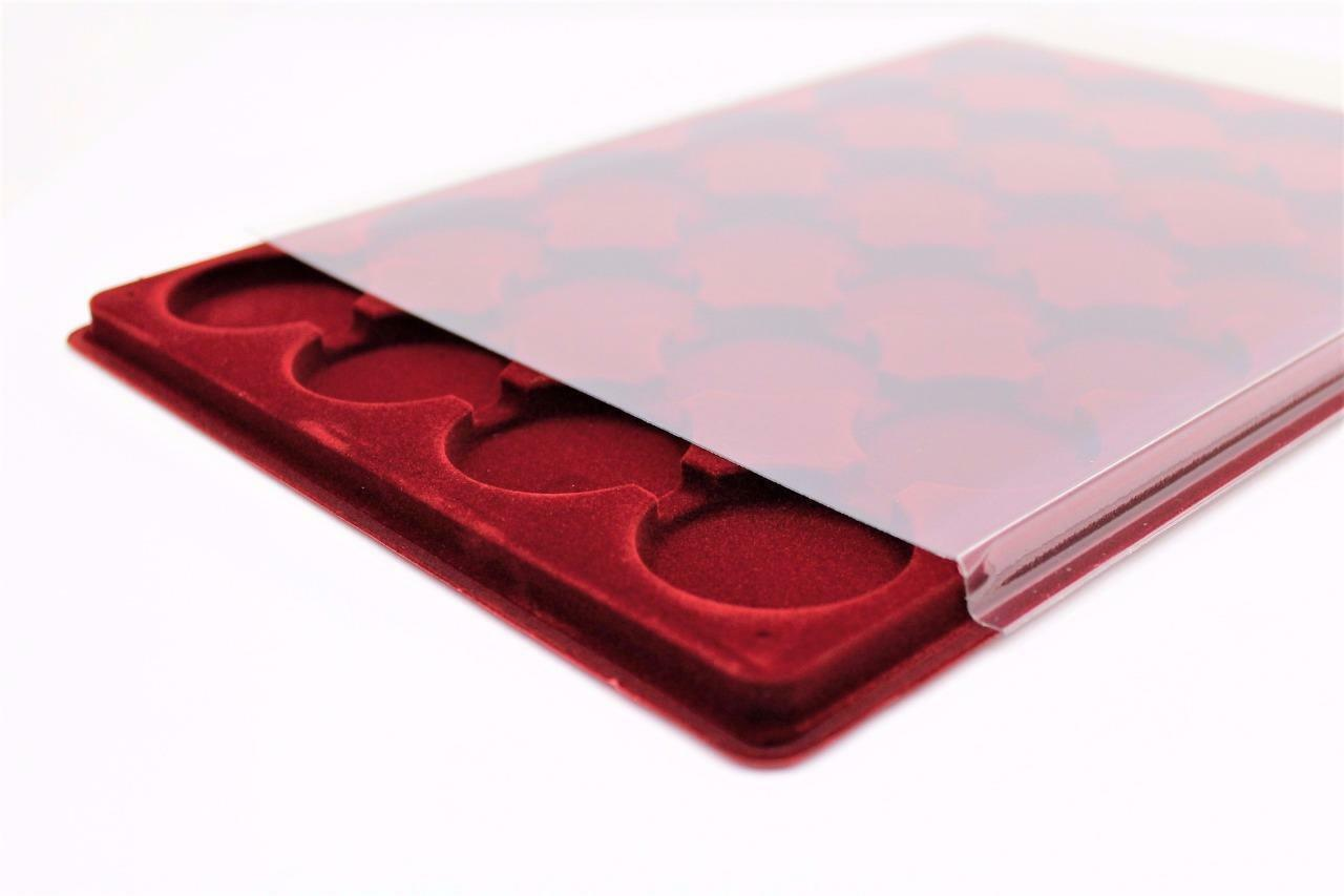 Red COIN TRAY Collection for Small Coins or Medals Compartment Size 23x23mm P77