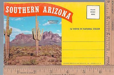 1959 unused post card SOUVENIR FOLDER  SOUTHERN ARIZONA               curt teich
