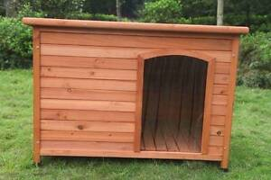 XL Wooden Log Cabin Timber Pet Dog Kennel House Cage W Stripe Mordialloc Kingston Area Preview