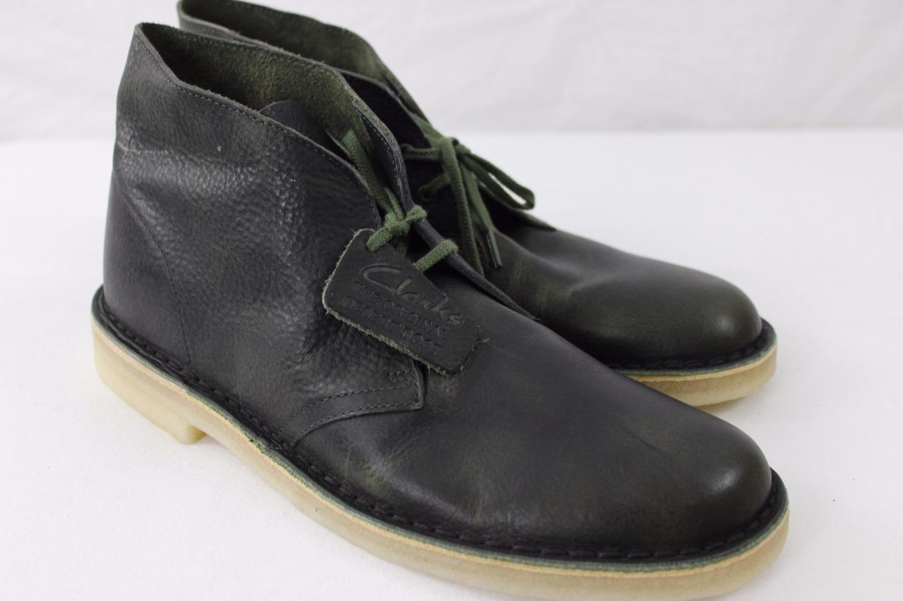 Clarks Originals Desert Boot Chukka Green Leather Round Toe Mens Shoe 26115534