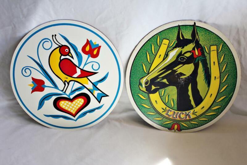 "Vintage CONESTOGA CRAFTS Hex Sign 15"" Single Distelfink & Good Luck Horse Head"