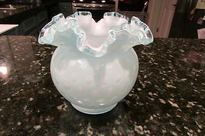 "Rare Fenton Glass Bubble Optic Powder Blue Ruffled 5"" Vase 1961-1962 Only"