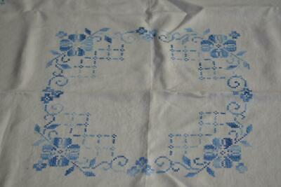 """Vintage Hand Embroidered Blue X Stitch Linen Tablecloth 45"""" x 46"""" Fine Detailed"""