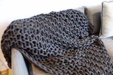 Rebecca Judd Zephyr Hand Knit Charcoal Throw Rug