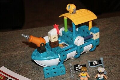 Fisher Price TRIO Boat Shark Adventures Pirate Ship Building Blocks Playset