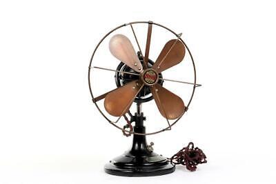 """Vintage~ c1930~ """"The Zephyr"""" Four Blade Oscillating Desk 8"""" Fan ~ Working  #2280"""