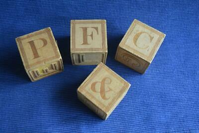 4 Primitive Vintage Wood Blocks ABC + Animals 1.875""