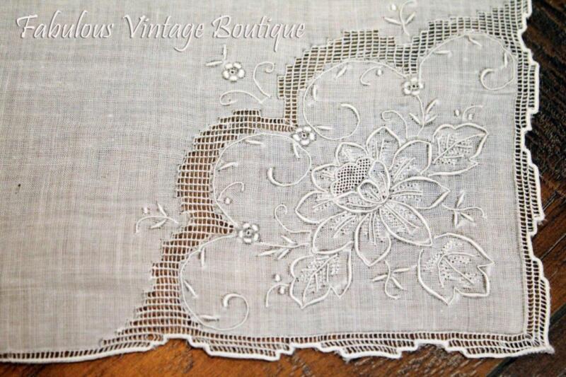 Vtg White Cotton Antique Fine Embroidered Lace Hankie Handkerchief Wedding Bride