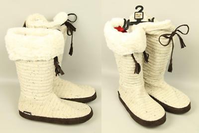 New MUK LUKS Natural Beige Design Knit Faux Suede Flat Comfort Boots 9.5/10.5