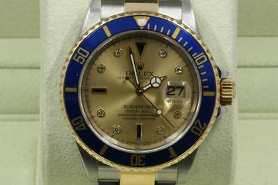 Rolex Submariner-Date 16613 Champagne Diamonds Blue Bezel 2001 Model