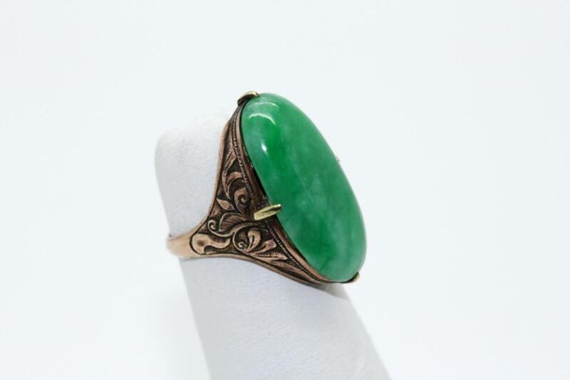 ANTIQUE CHINESE  ORNATE GREEN JADE RING 9KT GOLD