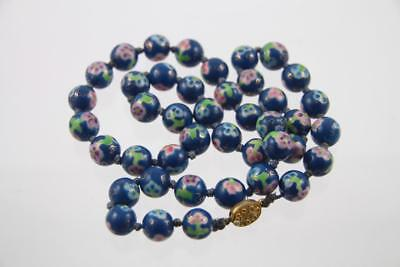 Vintage Faux Cloisonné Teal Blue Hand Painted Floral Porcelain Knotted Necklace