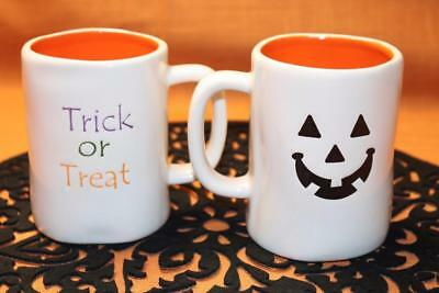 "TERRAMOTO CERAMIC HALLOWEEN PUMPKIN ""TRICK OR TREAT"" COFFEE MUGS - S/2"