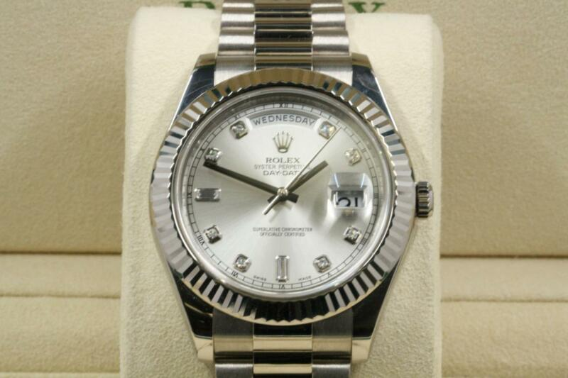 Rolex Model 218239 41mm Day-date Ii Silver Diamond Dial