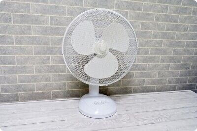 "Hyundai 12"" Electric Oscillating Desk Table Cooling Fan - 3 x Speeds - White"