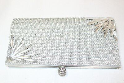 Womens Crystal Covered Large Silver Clutch Bag