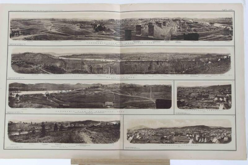 Antique Atlas 1893 Civil War Folio Map FORTS Tennessee Plate CXXX Panoramic HTF