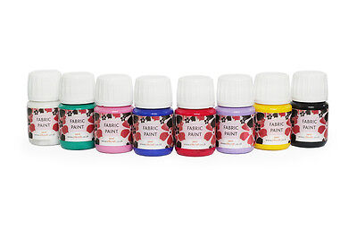 Silkcraft - Set of 8 fabric/textile paints  x 30ml bottles - HIGH QUALITY