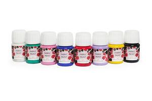 Silkcraft - Set of 8 fabric/textile paints  x 30ml bottles - HIGH QUALITY