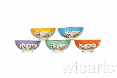 5 Colourful Fortune Cat Japanese Bowl Set. Lucky, Rice, Noodle, Soup Kitcheware