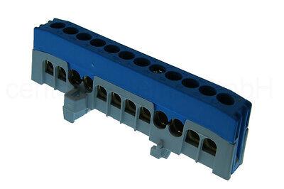 Neutralleiter Verteiler für Hutschiene 12 polig - Klemm Block -  N Klemme blau