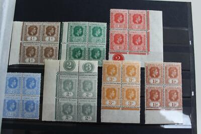 Leeward Islands Fine MNH Group of KGVI Blocks Most with Selvedge Intact