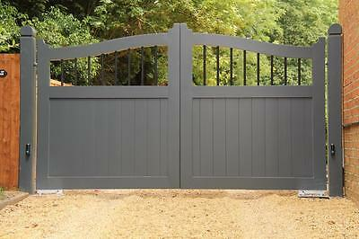 Arch Top Wood Effect Gates Aluminium Gates, Timber Look Gates