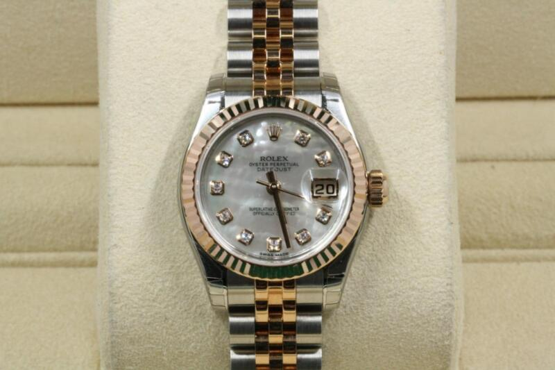 Rolex Lady-datejust 179171 Mother Of Pearl Diamond Dial Unused With Papers