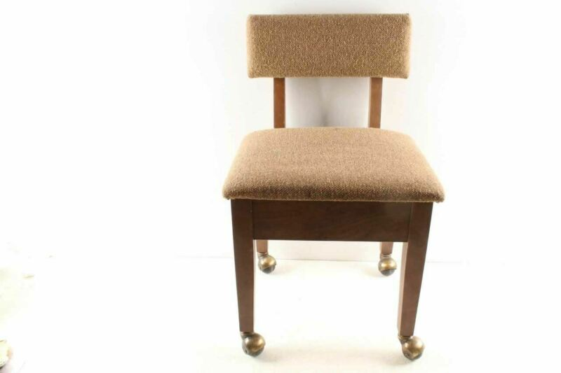 Vintage Mid Century Sewing Chair On Rollers & Seat Storage