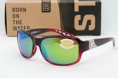 Costa del Mar Inlet Sunglasses Black-Pomegranate Fade frame/Green Mirror (Costa Del Mar Sunglasses For Women)