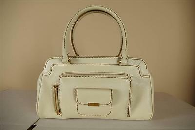 Tods White Pebbled Leather Purse New Handbag Satchel Tote Clutch Lock Key Tods