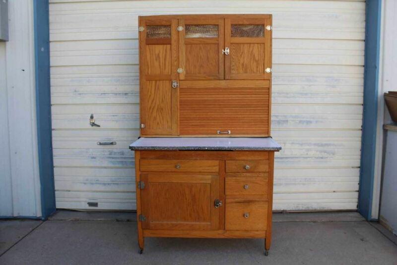 Antique Oak Hoosier Style Kitchen Cabinet Cupboard Slag Glass Doors
