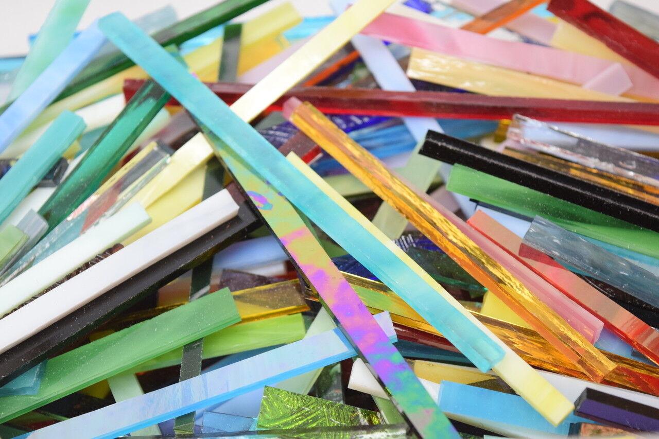 как выглядит Художественное стекло и черепица 1/2 lb Stained Glass Mosaic Strips B1106 фото