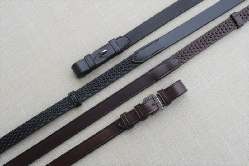 KL Select Black Oak Pebble Grip Reins w/Stops