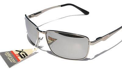 XS PRO Silver Metal frame Polarized sunglasses /w Silver Mirror lens golfing