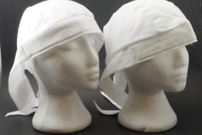 Do Wrap Stretch Cap - skull cap hat do du rag cooling air holes stretch white sweat band head wrap USA