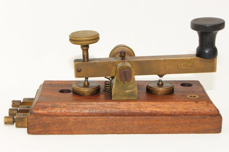 C.1920 MORSE CODE ITALIAN POSTAL TELEGRAPH KEY DITTA ING. DE RINALDIS BARI ITALY