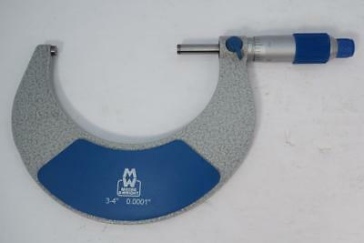 New Moore Wright 3-4 Micrometer. .0001 Grad. Carbide Faces Cw Standard
