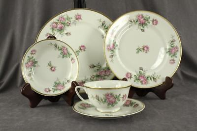 Pattern Gold Trim - Vintage VOGUE China Pink DAMASK ROSE Pattern 5PC Place Setting Bright Gold Trim
