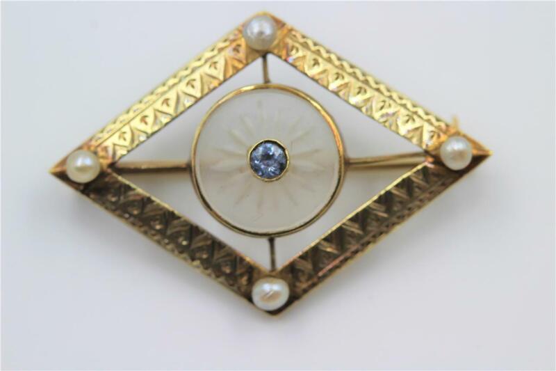 VINTAGE ART DECO 14K SOLID GOLD CAMPHOR GLASS PEARLS & SAPPHIRE HALLMARK PIN