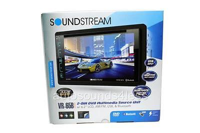 "Soundstream Double Din VR-65B DVD/CD/MP3 Player 6.2"" LCD Bluetooth USB SD New"
