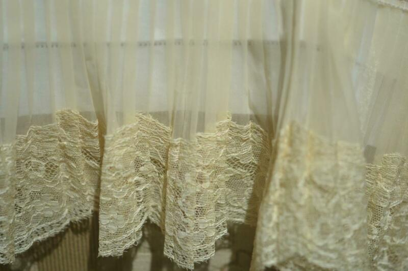 Elegant Antique Wide French Lace Trimmed Curtain Panel w Double Damask & Tag